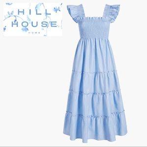 Hill House Ellie Nap Dress Blue Glitter Check • L